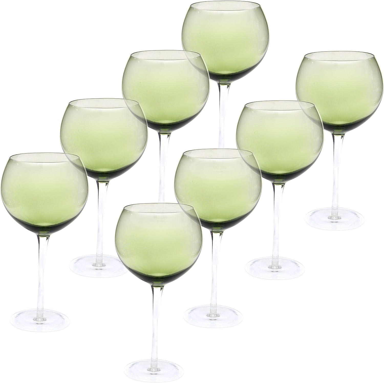 Certified International Red Wine Stemware Glass (Set of 8), 28 oz, Olive Green