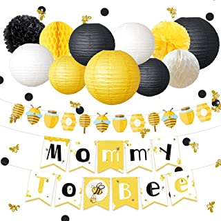 NICROLANDEE Bee and Honey Baby Shower Decoration Mommy To Bee Card Banner Garland Hanging Paper Lanterns