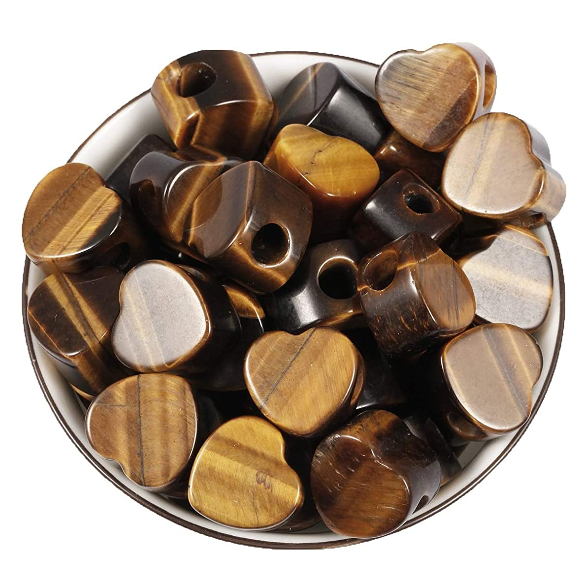 Loveliome 10 Pcs Large Hole Loose European Bead, Heart Love Jewelry Making Supplies fits Charm Bracelet,Tiger's Eye