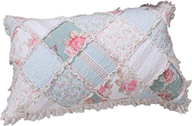DaDa Bedding Patchwork Pillow Sham - Hint of Mint Floral Cotton Country Cottage - Ruffles Pastel Blue/Green - King Size 20&#3