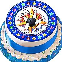 Cannellio Cakes Tenpin Bowling Blue Star Border 7.5 Inch Precut Edible Icing Cake Topper Decoration