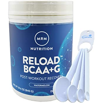 MRM BCAA+G Reload Post-Workout Recovery, Supports Muscle Recovery, 29.6 oz Watermelon Bundle with a Lumintrail Measuring Spoon Set