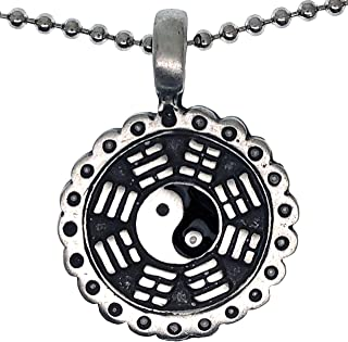 Kung Fu Yin Yang Bagua Pewter Boys Unisex Men Pendant Necklace Charm Amulet w Silver Ball Chain