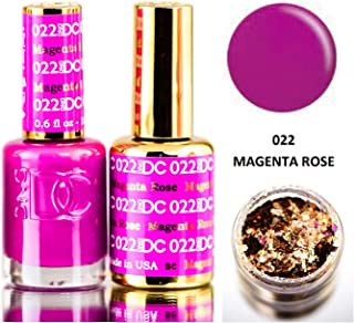 DND DC Purples GEL POLISH DUO, Gel Lacquer 0.5 oz + Matching Nail Polish Color 0.5 oz, Daisy Nails (with bonus side Glitter) Made in USA (Magenta Rose (022))