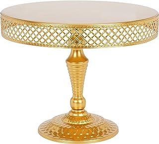 TRSPCWR Gold Cake Stand, 10inch Wedding Dessert Display Cake Stands, Cupcake Holder, Metal Cake Plate Decor for Wedding Bi...