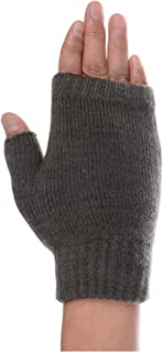 BYOS Unisex Winter Fall Soft Cable Fingers Free Fingerless Knit Gloves Stretchy