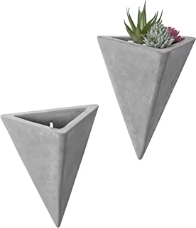 MyGift Modern Triangle Shaped Wall Mounted Cement Planters, Set of 2