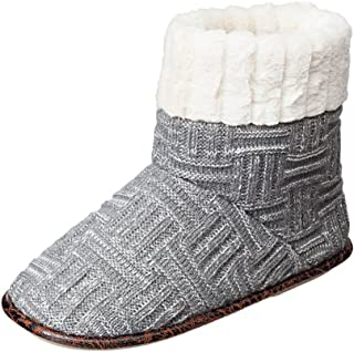 Basketweave Sweater Knit Boot Slippers with Faux Fleece Lining