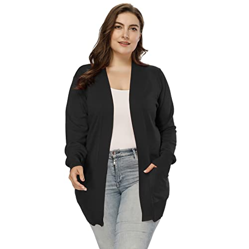 Hanna Nikole Women Open Front Long Sleeve Classic Knit Cardigan Pocket  HNAF0005 a103066aa