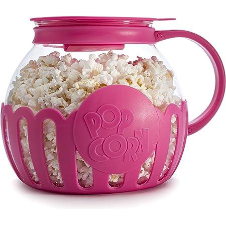 Ecolution Original Microwave Micro-Pop Popcorn Popper, Borosilicate Glass, 3-in-1 Lid, Dishwasher Safe, BPA Free, 3 Quart Family Size, Hot Pink