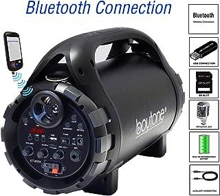 Boytone BT-46BK Portable Boombox Bluetooth Speaker, Indoor/Outdoor 2.1 Hi-Fi Cylinder Loud Power Speaker Built-in 5.25