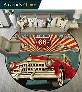 Americana Living Room Rug Old Garage Repair Shop Super Soft to The Touch Diameter-55