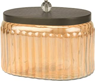 Stonebriar Amber Glass Storage Container with Hammered Metal Lid, Decorative Jar for Cotton Ball or Cotton Swab Storage, Unique Keepsake or Trinket Box, Elegant Jewelry Box
