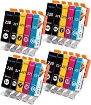 TIANSE Compatible Ink Cartridge Replacement for Canon PGI-220 CLI-221 Work with PIXMA IP3600 IP4600 IP4700 MP990 MP980 MX870 MX860 MP640 MP620B MP620 MP560 PMFP1 PMFP3 SFP1 SFP2 Printer(4 Set)