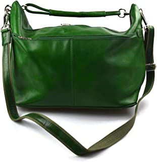 Leather Duffle Mens Women Leather Duffle Bag Green Travel Bag Luggage carryon