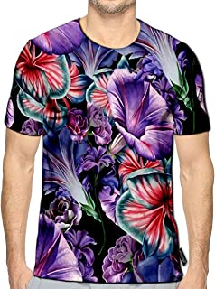 YILINGER 3D Printed T-Shirts Bright with Flowers Orchid Petunia Watercolor Short Sleeve Tops Tees