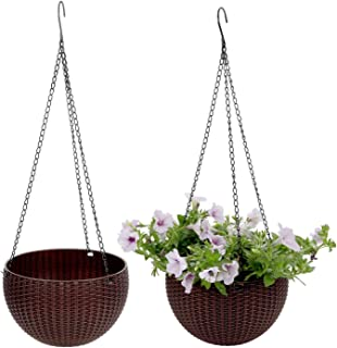 T4U Plastic Hanging Planter Coffee Brown Pack of 2, Self Watering Basket Round Flower Plant Orchid Herb Holder Container for Home Office Garden Porch Balcony Wall Indoor Outdoor Decoration Gift