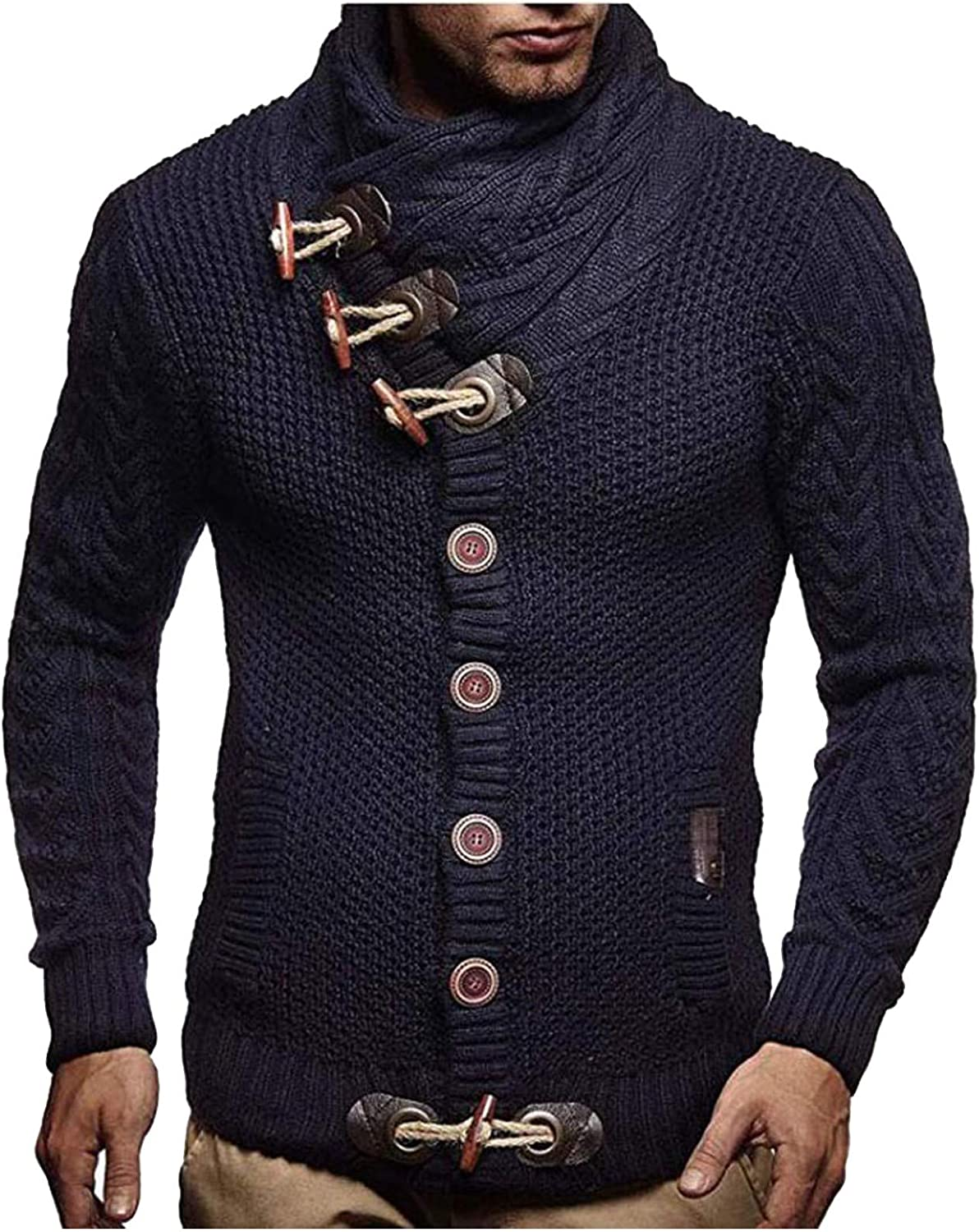 HONGJ Knitted Sweaters for Mens, Fall Winter Cowl Neck Pullover Horn Button Turtleneck Cardigan Casual Warm Jumper