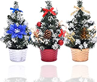 TuoFang 3 Pack Mini Christmas Trees, 7.9 inch Artificial Snowy Christmas Tree Xmas Party Table Decoration Festival Home Office Ornament Gift(Red, Gold, Silver)