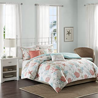 Madison Park Pebble Beach 6 Piece Duvet Cover Set, Coral, Cal King, King King