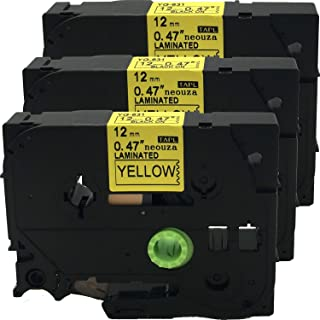 NEOUZA 3PK Compatible for Brother Laminated TZ TZe-631 Label Tape Cartridge 12mm x 8m (Black on Yellow)