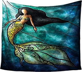 ECONIE Mermaid Tapestry Mandala Wall Hanging Tapestry Wall Art Decor Beach Throw Table Runner/Cloth 51