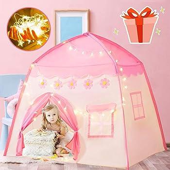 キッズテント ボールハウス 子供用テント ピンク LEDライト・飾り・収納バッグ付き 室内 組み立て式 収納簡単 誕生日 クリスマス 出産祝いプレゼントに最適 BEEWAYS