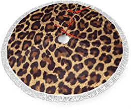 WETG Cool Cheetah Leopard Christmas Tree Skirt for Decor, New Year Festive Holiday Party Decoration