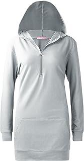 Regna X 女式长袖休闲连帽连衣裙带袋鼠口袋(10 种颜色,加大码