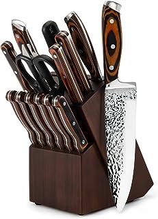 سرویس چاقو ، ست چاقوی آشپزخانه 15 تکه با بلوک ، ست چاقو از جنس استنلس استیل ژاپن ، ست چاقو با تیز کننده ، مجموعه بلوک چاقو سرآشپز چاقو بلوک چاقو استیک چاقو نان جعبه چاقو جعبه