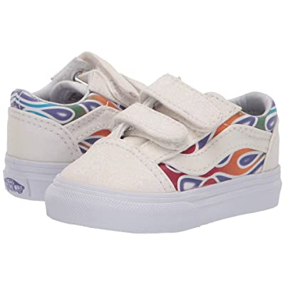 Vans Kids Old Skool V (Infant/Toddler) ((Sparkle Flame) Rainbow/True White) Girls Shoes