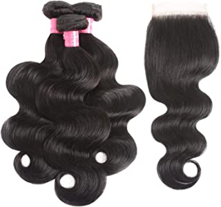 Peony red Peruvian Body Wave 3 Bundles With Closure Non Remy Hair Weft Human Hair,14 16 16 & Closure12,Natural Color,Free Part,United States