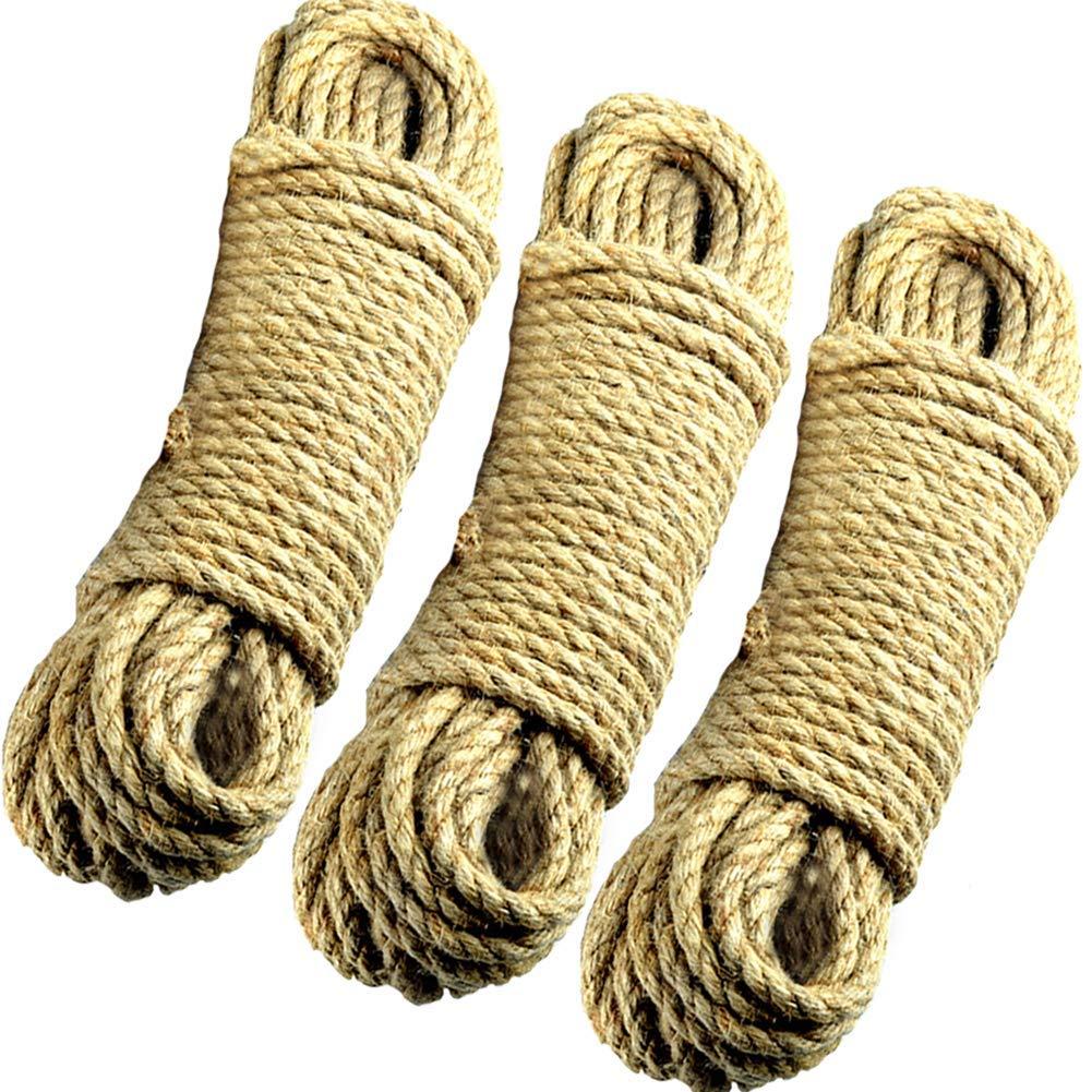 S SIENOC Cuerda Natural de cáñamo Cuerdas de Yute Cuerda de Correa Cuerda para Acampar, Jardín, Navegación, Tug of War, Cuerda para Escalar, Multipropósito, Varias especificaciones (6mm - 50m): Amazon.es: Jardín