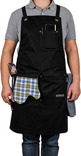 GIDABRAND Professional Grade Chef Kitchen Apron with Double Towel Loop - 10 oz Cotton for Cooking, BBQ and Grill - Me...