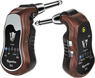 ギターシステム,Syonike送受信機 無線Bluetooth/Line-in マルチ ワイヤレス5種類エフェクト アンプ内蔵充電式リチウム180度方向 歪みパフォーマンス複数曲演奏コーラスしながら踏む ギター/ベース用 (無線-送受信機, ブラウン)