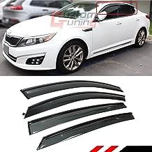 Cuztom Tuning Smoke Tinted Clip On + Tape On Window Visor W/Black Trim Edge Fits for 2011-2015 Kia Optima K5