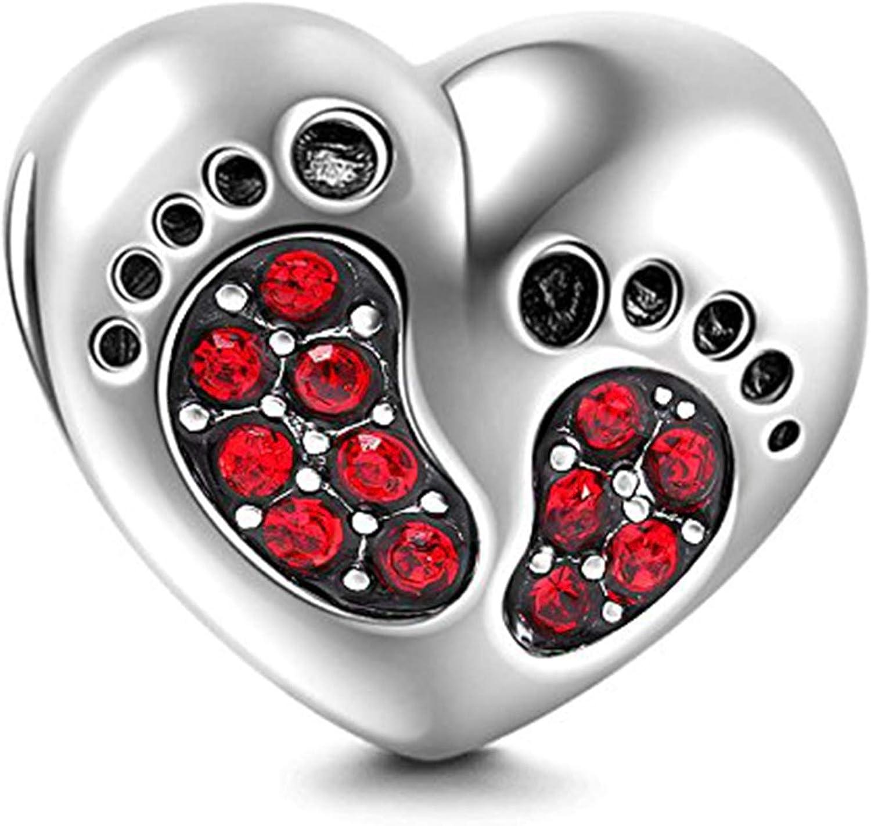 Bracelet Baby Footprints Dallas Mall Charms sale - H Silver 925 Sterling Pendant