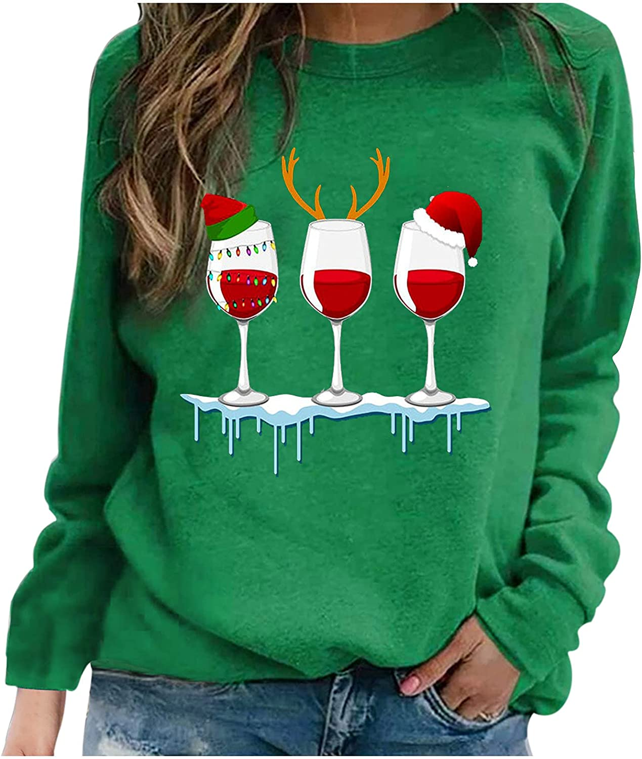 Merry Christmas Shirts for Women Casual Long Sleeve Crewneck Sweatshirt Cute Glass Graphic Tee Loose Fit Pullover Tops