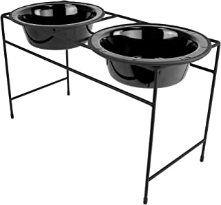 Platinum Pets Modern Double Diner Feeder with Stainless Steel Cat/Dog Bowl, Large, Midnight Black