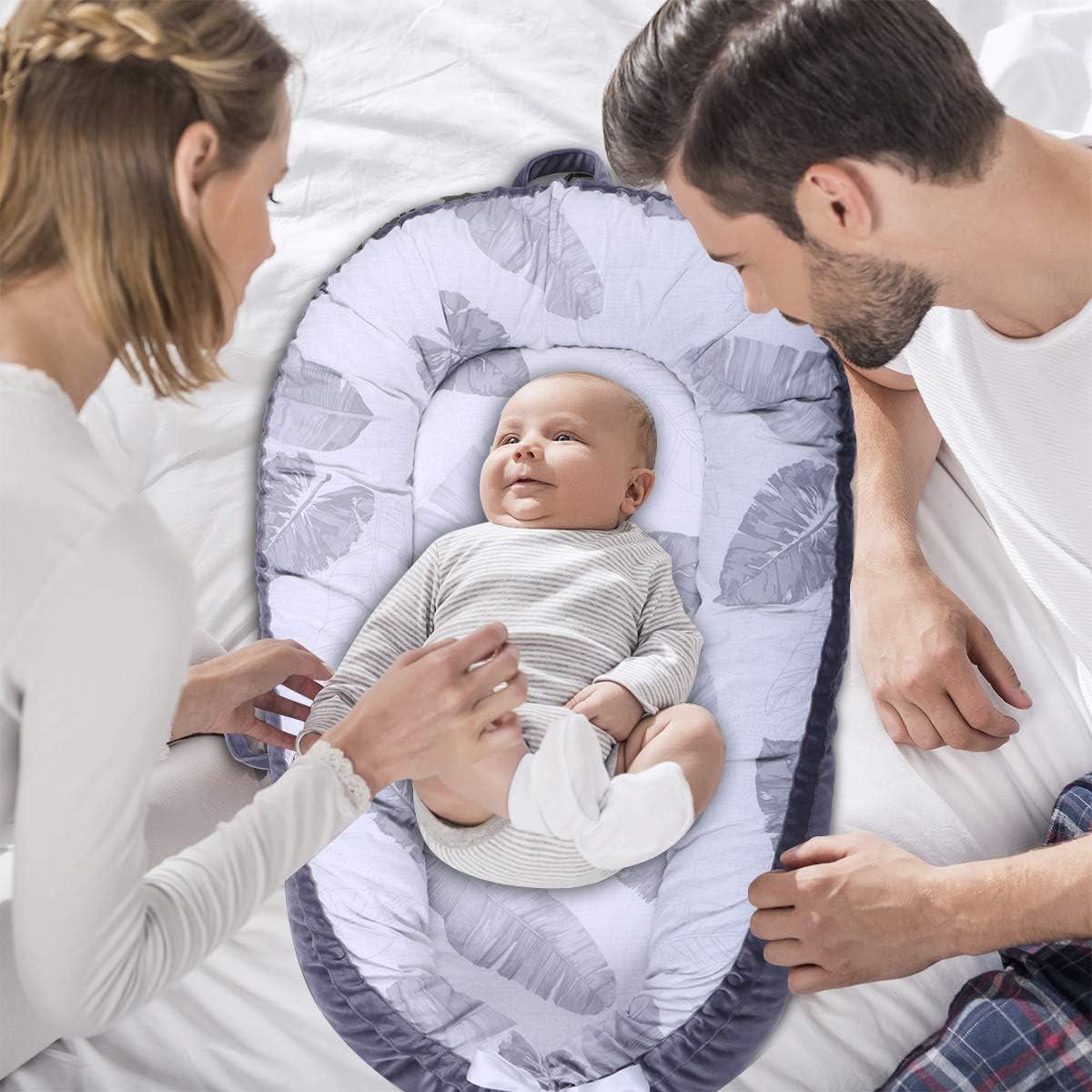 Mousse pour Bébé Fait À La Main en Coton Respirant - Nid De Sommeil en Coton - Cocon Réducteur De Lit pour Nouveau-Né De 0-12 Mois Plumes,B C