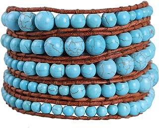 KELITCH 5 اساور بتصميم مكون من مجوهرات صناعية للنساء باللون الفيروزي (بني)