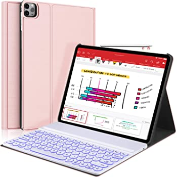 """New iPad Pro 12.9 2020 2018 Keyboard Case - 7 Colors Backlit Detachable Keyboard Slim Leather Folio Smart Cover for iPad Pro 12.9"""" 4th Gen 2020/3rd Gen 2018[Support Apple Pencil Charging] -Rose Gold"""