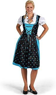 Elbenwald Dirndl Trachten Kleid Damen Midi mit Schürze türkis/braun Edelweißknöpfe Blusen Bustier perfekt zum Oktoberfest