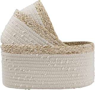 Rope Woven Storage Baskets Set of 3 - Small White Rope Baskets for Shelves, Decorative Nursery Baskets Organizer Bins for Baby Toys, Nursery Decor Gift