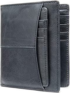 Wallet Men's Leather Retro Casual Multi-Card Leather Wallet Wallet Ultra-Thin Wallet Work Partner (Color : Blue, Size : S)