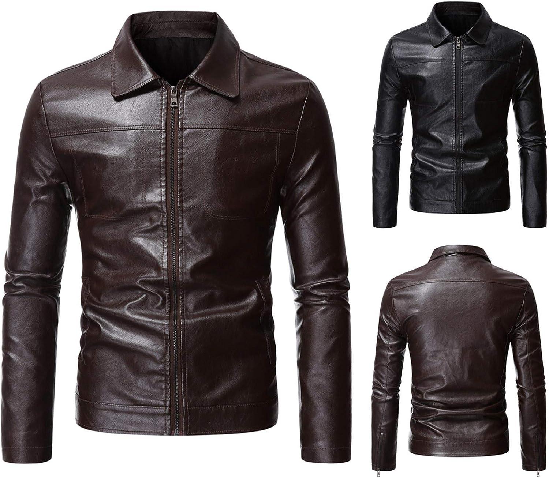 Men Leather Jackets,Vintage Classic Leather Zip Up Biker Bomber Jacket V1690