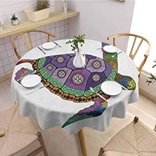 Luoiaax Psychedelic Waterproof Anti Wrinkle no Pollution Sea Turtle with Colorful Ornamental Style Tattoos on Animal Art Work Round Tablecloth D67 Inch Round Purple Orange Pink