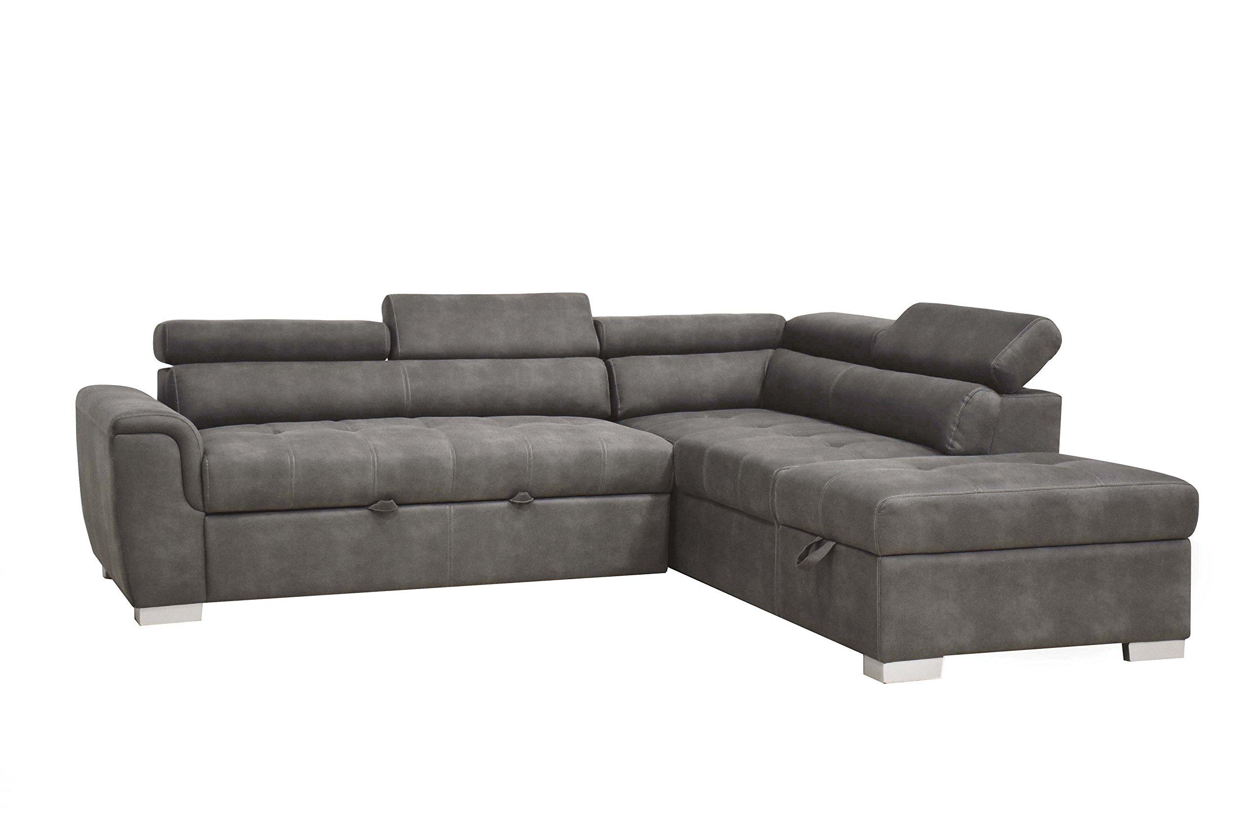 ACME Furniture Thelma Sleeper and Ottoman Sectional Sofa, Gray