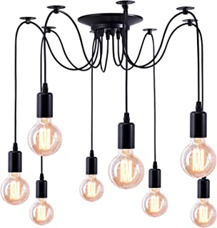 Makitesy Retro Lámpara de Techo Iluminación Colgante E27 Tipo de Base, Lámpara Clásica Techo Antigua con luz de Araña Ajustable Negro,DIY Industrial Lámpara Pendiente