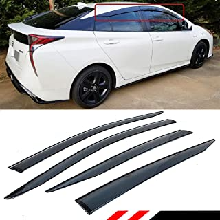Cuztom Tuning Fits for 2016-2019 Toyota Prius Smoke Tinted Low Profile Window Visor Rain Guard Deflector with Clips